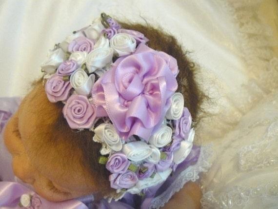 Victorian Lavender Floral HEADBAND for REBORN  Doll or Newborn BABY