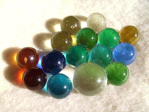 Fifteen Vintage Colorful Clear Marbles By Mrsmarblelove On