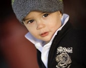Grey Beanie with Brim - Green Stripe newborn to 4T