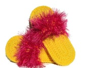 Yellow Crocheted Slippers with Hot Pink Fur - Flip Flop Footwear - Indoor Comfortable Shoes with Eyelash Yarn - JensTangledThreads