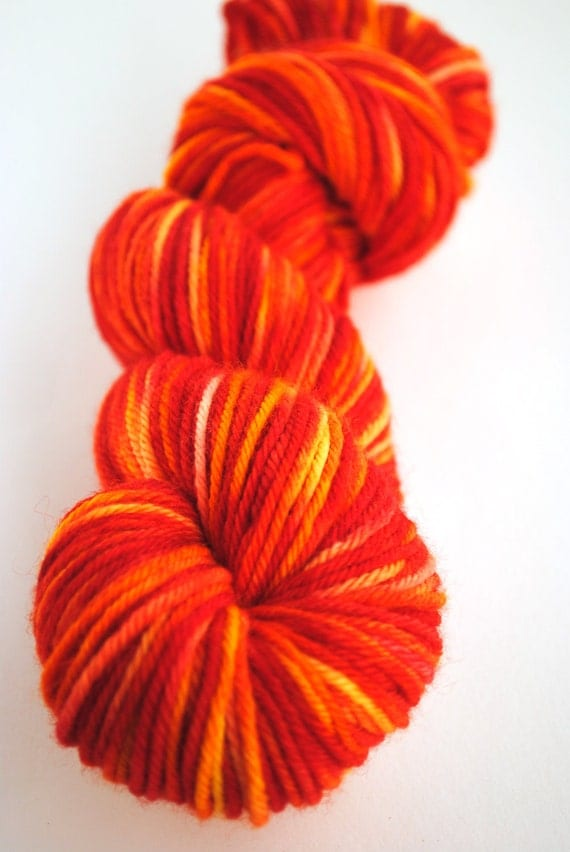 "DK Organic Merino ""Girl on Fire"" Red, Orange, Yellow"