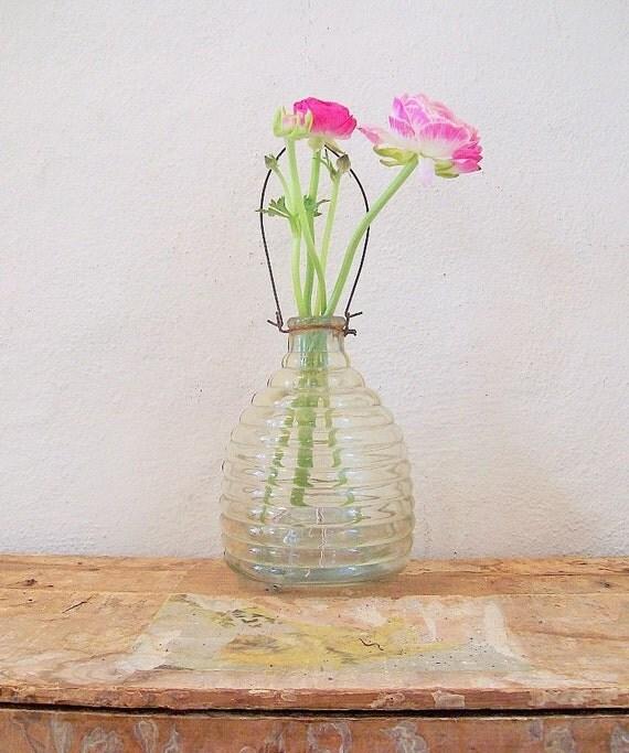 Glass Bee Catcher, Big Honeycomb Hanging Catcher or Vase
