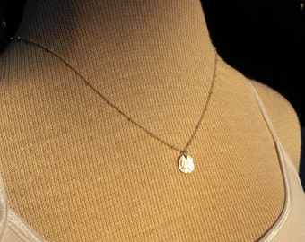 Simple Disk Necklace, Jewelry Sterling Silver Disk Charm Necklace with Textured Chain 17 Inch chain
