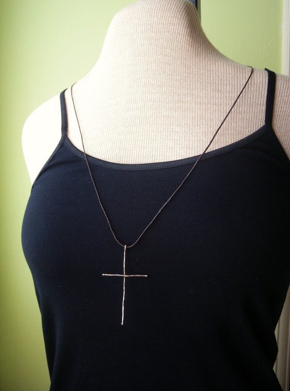 Long Handmade Sterling Silver Cross Pendant Necklace FREE SHIPPING within US