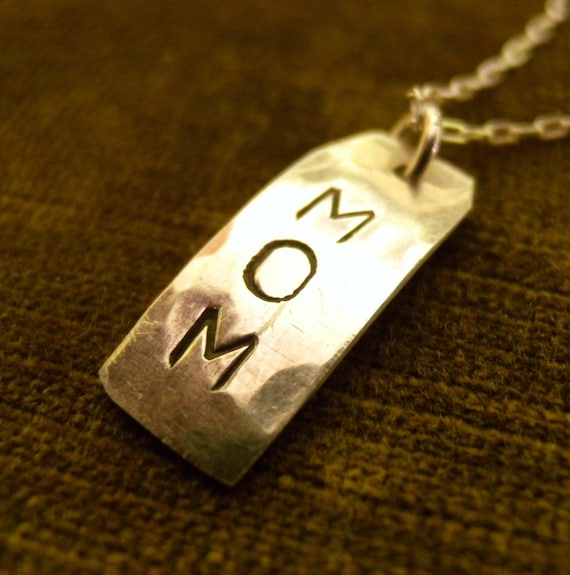 MOM Necklace, Personalized Necklace, Hand Stamped Jewelry, Word Necklace Gift Idea, Handmade Necklace Sterling Silver