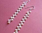 White Pearl Cascade Earrings
