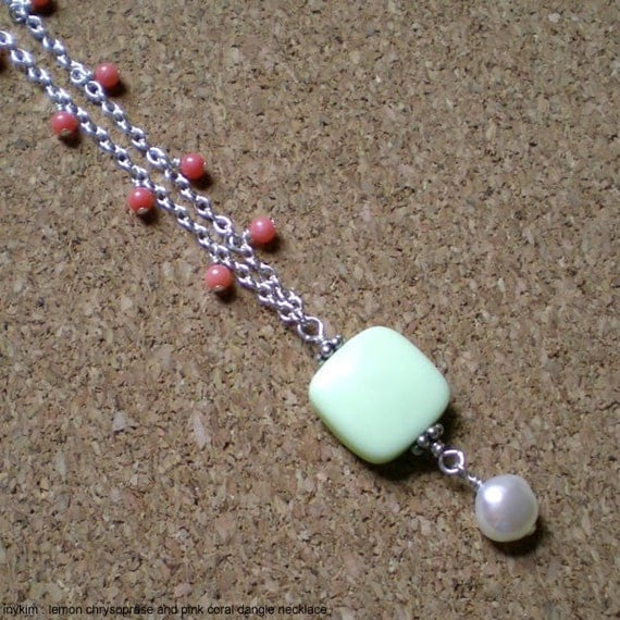 Lemon Chrysoprase and Pink Coral Dangle Necklace