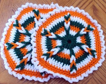 Hot Pad / Pot Holders in Orange, Green, and white (Pair)