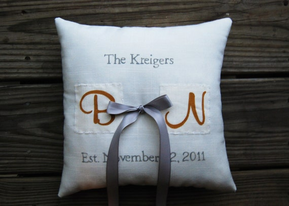 Completely custom and personalized, double sided, ring bearer pillow