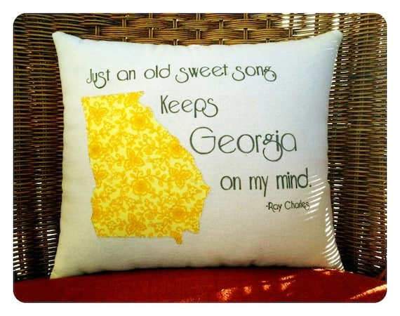 State pillow, Georgia on My Mind- Ray Charles, customizable