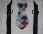 Grey Argyle Tie Onesie with black suspenders