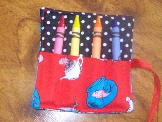 Dr. Seuss Cat in the Hat mini crayon roll with crayons