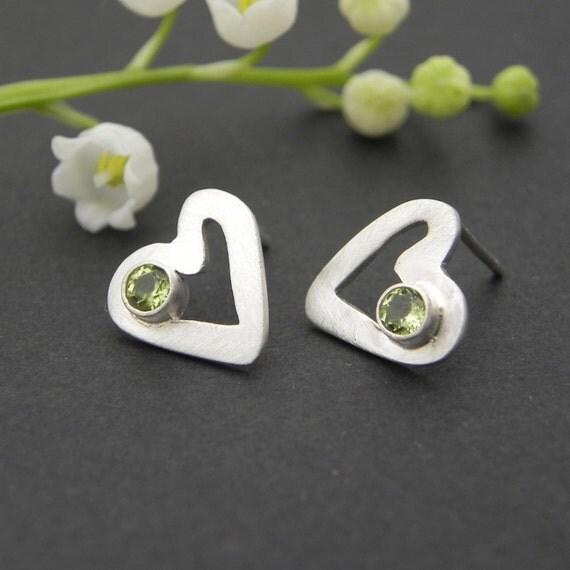 Unique Heart Earrings - Peridot August Birthstone Sterling Silver Handmade Heart Earrings