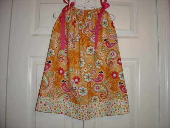 Sale  Birds and Paisley Pillowcase Dress  3T-5yrs    22 inches