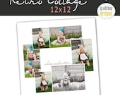 INSTANT DOWNLOAD - Retro Collage - Photo Collage Storyboard Photography Template - 12x12