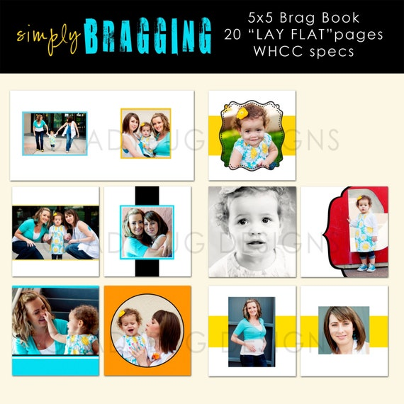 SIMPLY BRAGGING- 5X5 BRAG BOOK TEMPLATE- Template for Photographers