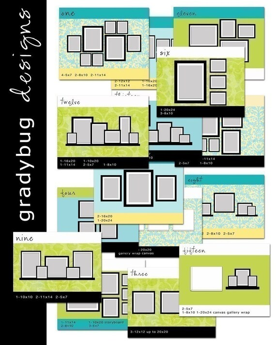 Wall display templates set 1 for photographers - Photo wall display template ...