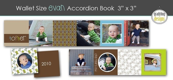 SALE...Evan Boy Accordion SQUARE Mini Book Template - 3 inches x 3 inches - Templates for Photographers