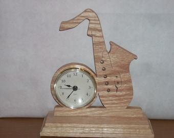Oak saxophone clock