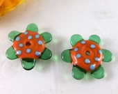 SALE 30% - 2 Flower Disk Lampwork Bead Earring Pairs- Beads by Elize