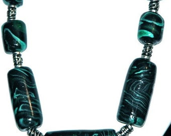Malachite Sculpy bead necklace