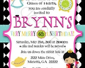 5x5 or 5x7 Custom Alice In Wonderland Birthday Sweet16 and Baby Shower Invitation MODERN BEBE