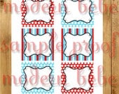3 inch party tags for any red and aqua party by Modern Bebe