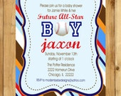 5x7 Sports Baby Shower invite by Modern Bebe, coordinating items can be created