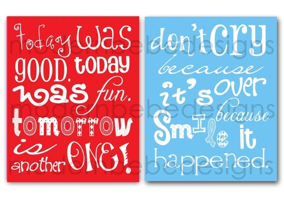 TWO 8x10 Dr. Seuss Quotes by MODERN BEBE for birthday, baby shower, nursery, playroom and MORE