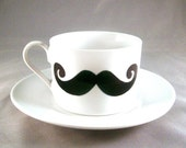 Geek Chic Dainty yet Distinguished Mustache Coffee Cup and Saucer