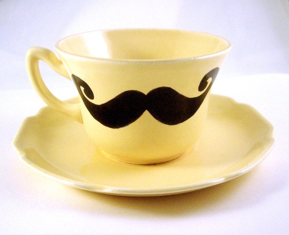 Dainty yet Distinguished Mustache Teacup and Saucer, yellow