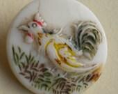 Antique Rooster Hen Glass Button Czech