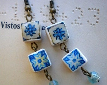 Porto Portugal Blue Azulejo Tile Replica Earrings (see actual Facade photos) WATERPROOF and REVERSIBLE 603