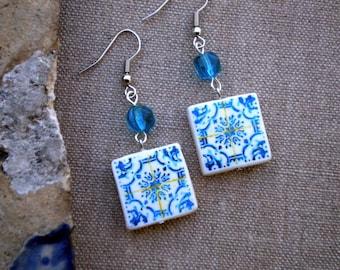 Portugal  Antique Tile Replica Earrings, Light  Blue  - waterproof and reversible