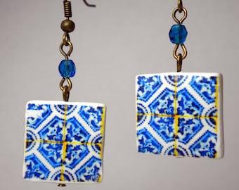 Portugal  Antique Tile Replica Earrings,  Blue  - waterproof and reversible