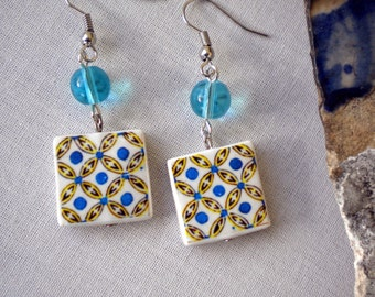 Portugal  Antique Tile Replica Earrings,  Yellow and Blue- AVEIRO  - waterproof and reversible 451
