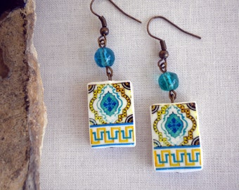 Portugal  Antique Tile Replica Earrings,  Aqua and Yellow ESGUEIRA - waterproof and reversible 349