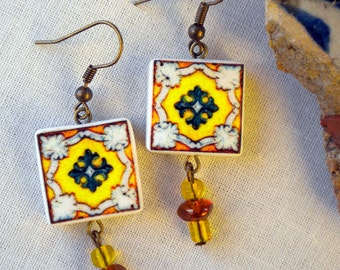 Portugal  Antique Tile Replica Earrings,  Green and Yellow  ESGUEIRA  - waterproof and reversible 283