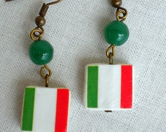 Italy, Italia, Italian Flag Earrings 1948, waterproof and reversible 384