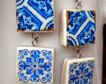 Portugal  Antique Tile Replica Earrings,  DEEP ROYAL BLUES  - waterproof and reversible 472