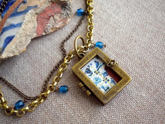 Portugal Lisbon Delft Blue Rustic Antique Tile Replica 1837 Necklace