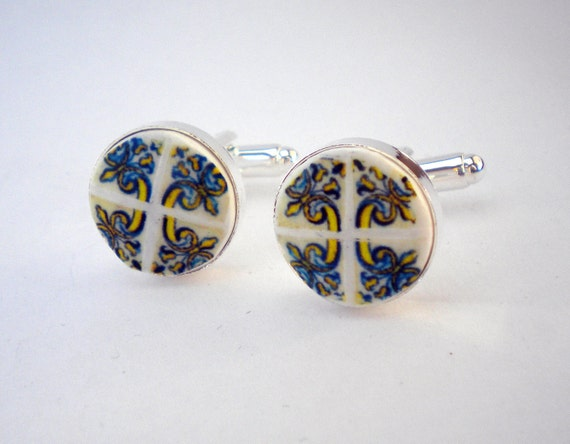 Cuff Links Portugal Blue Gold  1560 AZULEJO  Antique Tile Replica - Featured in French Magazine  L'Expansion Tendance -