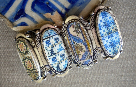 Portugal Cuff Bracelet with Antique Tile Replicas- Chunky--North Portugal