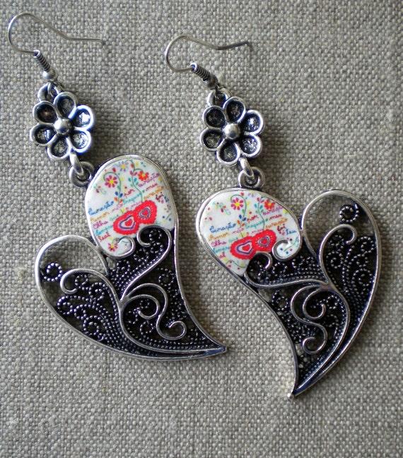 Portugal SWEETHEART HANDKERCHIEF or Lenco dos Namorados Filigree Heart of Minho Earrings Reversible