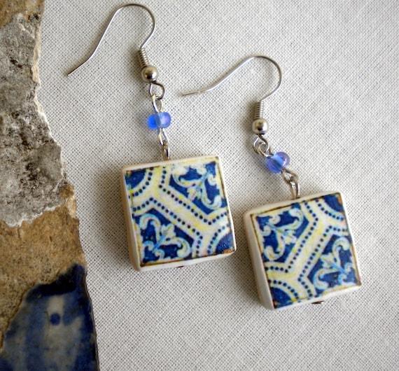 Portugal Tile Replica Earrings BLUE (see photo of actual Facade)  WATERPROOF - 305