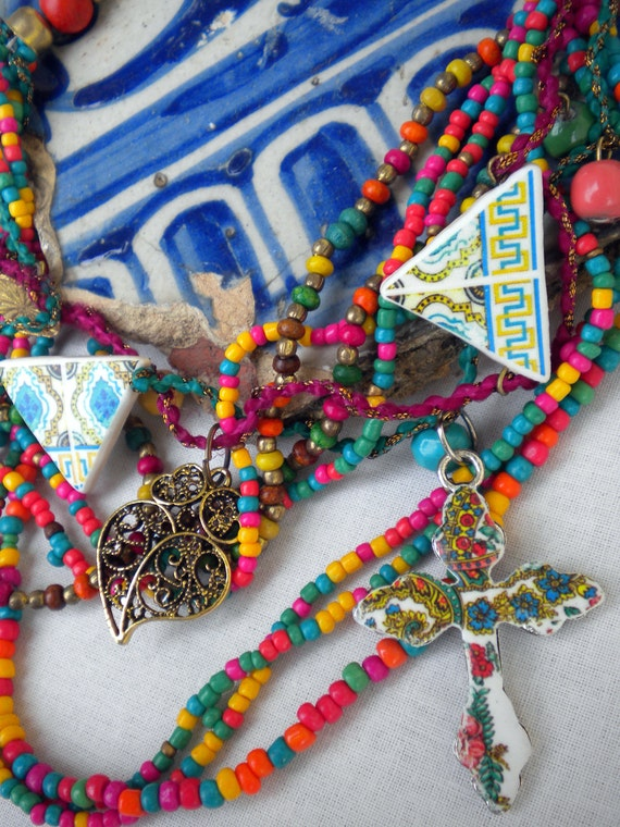 Colors of PORTUGAL Azulejos Necklace, Tile Replicas and Viana Folklore Cross and Heart of Minho