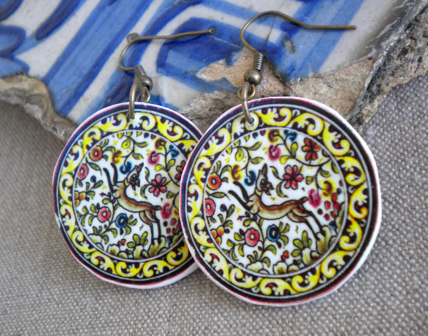 Coimbra Portugal 17th Century Pottery Dish Earrings
