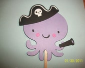 octopus with pirate hat cupcake toppers- set of 12