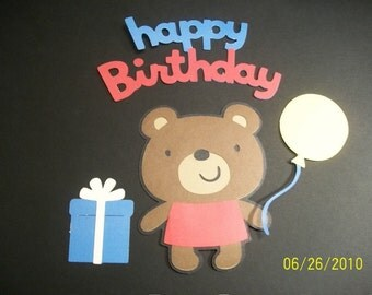 teddy bear, balloon, present and happy birthday title diecuts