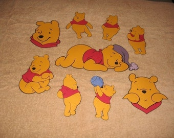 Pooh diecuts-set of 9- fully assembled-5 1/ inch tall-cricut